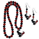 Siskiyou Buckle Houston Texans Fan Bead Earrings and Necklace Set, FBDE190FBN
