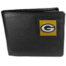 Siskiyou Buckle FBI115 Green Bay Packers Leather Bi-fold Wallet Packaged in Gift Box