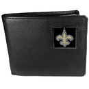Siskiyou Buckle FBI150 New Orleans Saints Leather Bi-fold Wallet Packaged in Gift Box