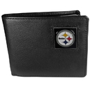 Siskiyou Buckle FBI160 Pittsburgh Steelers Leather Bi-fold Wallet Packaged in Gift Box