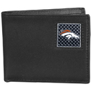 Siskiyou Buckle FBID020 Denver Broncos Gridiron Leather Bi-fold Wallet Packaged in Gift Box