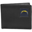 Siskiyou Buckle FBID040 San Diego Chargers Gridiron Leather Bi-fold Wallet Packaged in Gift Box