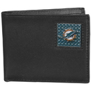 Siskiyou Buckle FBID060 Miami Dolphins Gridiron Leather Bi-fold Wallet Packaged in Gift Box