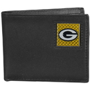 Siskiyou Buckle FBID115 Green Bay Packers Gridiron Leather Bi-fold Wallet Packaged in Gift Box