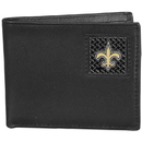 Siskiyou Buckle FBID150 New Orleans Saints Gridiron Leather Bi-fold Wallet Packaged in Gift Box