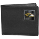 Siskiyou Buckle FBID180 Baltimore Ravens Gridiron Leather Bi-fold Wallet Packaged in Gift Box