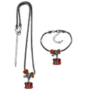 Siskiyou Buckle Cincinnati Bengals Euro Bead Necklace and Bracelet Set, FBNK010BBR