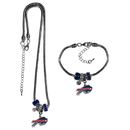 Siskiyou Buckle Buffalo Bills Euro Bead Necklace and Bracelet Set, FBNK015BBR