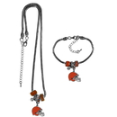 Siskiyou Buckle Cleveland Browns Euro Bead Necklace and Bracelet Set, FBNK025BBR