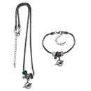 Siskiyou Buckle Miami Dolphins Euro Bead Necklace and Bracelet Set, FBNK060BBR