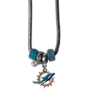 Siskiyou Buckle FBNK060 Miami Dolphins Euro Bead Necklace