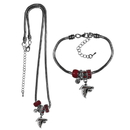 Siskiyou Buckle Atlanta Falcons Euro Bead Necklace and Bracelet Set, FBNK070BBR