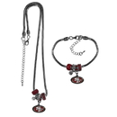 Siskiyou Buckle San Francisco 49ers Euro Bead Necklace and Bracelet Set, FBNK075BBR
