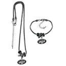 Siskiyou Buckle New York Jets Euro Bead Necklace and Bracelet Set, FBNK100BBR
