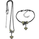 Siskiyou Buckle New Orleans Saints Euro Bead Necklace and Bracelet Set, FBNK150BBR