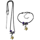 Siskiyou Buckle Minnesota Vikings Euro Bead Necklace and Bracelet Set, FBNK165BBR