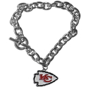 Siskiyou Buckle FCBR045 Kansas City Chiefs Charm Chain Bracelet