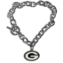 Siskiyou Buckle FCBR115 Green Bay Packers Charm Chain Bracelet