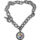 Siskiyou Buckle FCBR160 Pittsburgh Steelers Charm Chain Bracelet