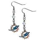 Siskiyou Buckle FCE060 Miami Dolphins Crystal Dangle Earrings