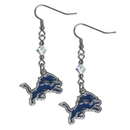 Siskiyou Buckle FCE105 Detroit Lions Crystal Dangle Earrings