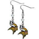 Siskiyou Buckle FCE165 Minnesota Vikings Crystal Dangle Earrings
