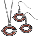 Siskiyou Buckle Chicago Bears Dangle Earrings and Chain Necklace Set, FDE005FN