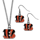 Siskiyou Buckle Cincinnati Bengals Dangle Earrings and Chain Necklace Set, FDE010FN