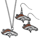 Siskiyou Buckle Denver Broncos Dangle Earrings and Chain Necklace Set, FDE020FN