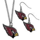 Siskiyou Buckle Arizona Cardinals Dangle Earrings and Chain Necklace Set, FDE035FN