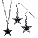 Siskiyou Buckle Dallas Cowboys Dangle Earrings and Chain Necklace Set, FDE055FN