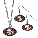 Siskiyou Buckle San Francisco 49ers Dangle Earrings and Chain Necklace Set, FDE075FN