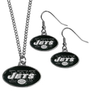 Siskiyou Buckle New York Jets Dangle Earrings and Chain Necklace Set, FDE100FN
