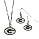 Siskiyou Buckle Green Bay Packers Dangle Earrings and Chain Necklace Set, FDE115FN