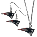 Siskiyou Buckle New England Patriots Dangle Earrings and Chain Necklace Set, FDE120FN