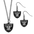 Siskiyou Buckle Oakland Raiders Dangle Earrings and Chain Necklace Set, FDE125FN