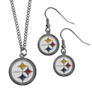 Siskiyou Buckle Pittsburgh Steelers Dangle Earrings and Chain Necklace Set, FDE160FN