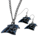 Siskiyou Buckle Carolina Panthers Dangle Earrings and Chain Necklace Set, FDE170FN