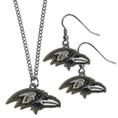 Siskiyou Buckle Baltimore Ravens Dangle Earrings and Chain Necklace Set, FDE180FN