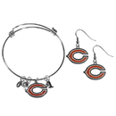 Siskiyou Buckle Chicago Bears Dangle Earrings and Charm Bangle Bracelet Set, FDEN005CBB