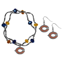 Siskiyou Buckle Chicago Bears Dangle Earrings and Crystal Bead Bracelet Set, FDEN005CYB