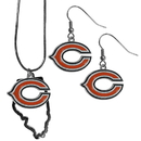 Siskiyou Buckle Chicago Bears Dangle Earrings and State Necklace Set, FDEN005SN