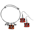 Siskiyou Buckle Cincinnati Bengals Dangle Earrings and Charm Bangle Bracelet Set, FDEN010CBB
