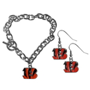 Siskiyou Buckle Cincinnati Bengals Chain Bracelet and Dangle Earring Set, FDEN010CBR
