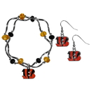 Siskiyou Buckle Cincinnati Bengals Dangle Earrings and Crystal Bead Bracelet Set, FDEN010CYB