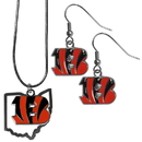 Siskiyou Buckle Cincinnati Bengals Dangle Earrings and State Necklace Set, FDEN010SN