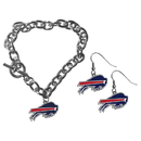 Siskiyou Buckle Buffalo Bills Chain Bracelet and Dangle Earring Set, FDEN015CBR