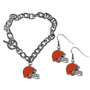 Siskiyou Buckle Cleveland Browns Chain Bracelet and Dangle Earring Set, FDEN025CBR