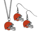 Siskiyou Buckle Cleveland Browns Dangle Earrings and Chain Necklace Set, FDEN025FN
