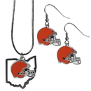 Siskiyou Buckle Cleveland Browns Dangle Earrings and State Necklace Set, FDEN025SN
